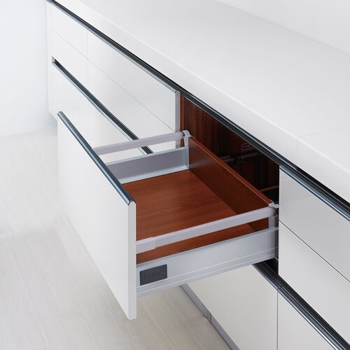Doublewall Deep Drawer, Regular Boxside with 1 Square Rail and 115 mm Drawer Height