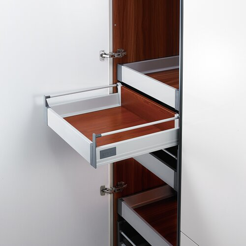 Doublewall Deep Drawer - Internal, Regular Boxside with 1 Round Rail, 83 mm Drawer Height