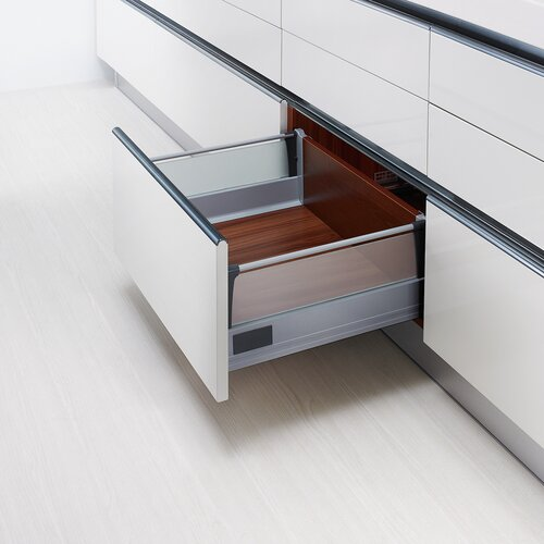 Doublewall Pots & Pans Drawer - Glass Sides, Glass Boxside with Round Rails and 83 mm Drawer Height