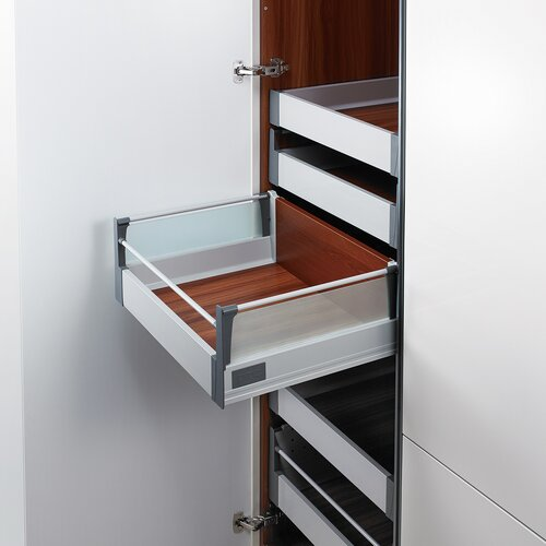 Doublewall Pots & Pans Drawer - Glass Sides - Internal, Glass Boxside with Round Rails and 83 mm Drawer Height