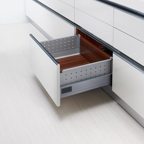 Doublewall Pots & Pans Drawer - Metal Sides, High Metal Boxside with Round Rails and 83 mm Drawer Height