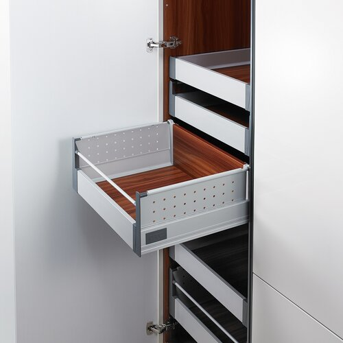Doublewall Pots & Pans Drawer - Metal Sides - Internal, High Metal Boxside with Round Rails and 83 mm Drawer Height