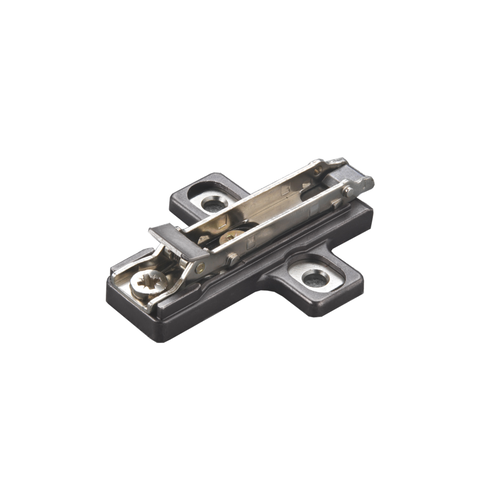 Salice # BAR3R, Titanium Domi Snap-On Cross-Shaped, Dual Cam Adjust, Mounting Plates, Wood Screws