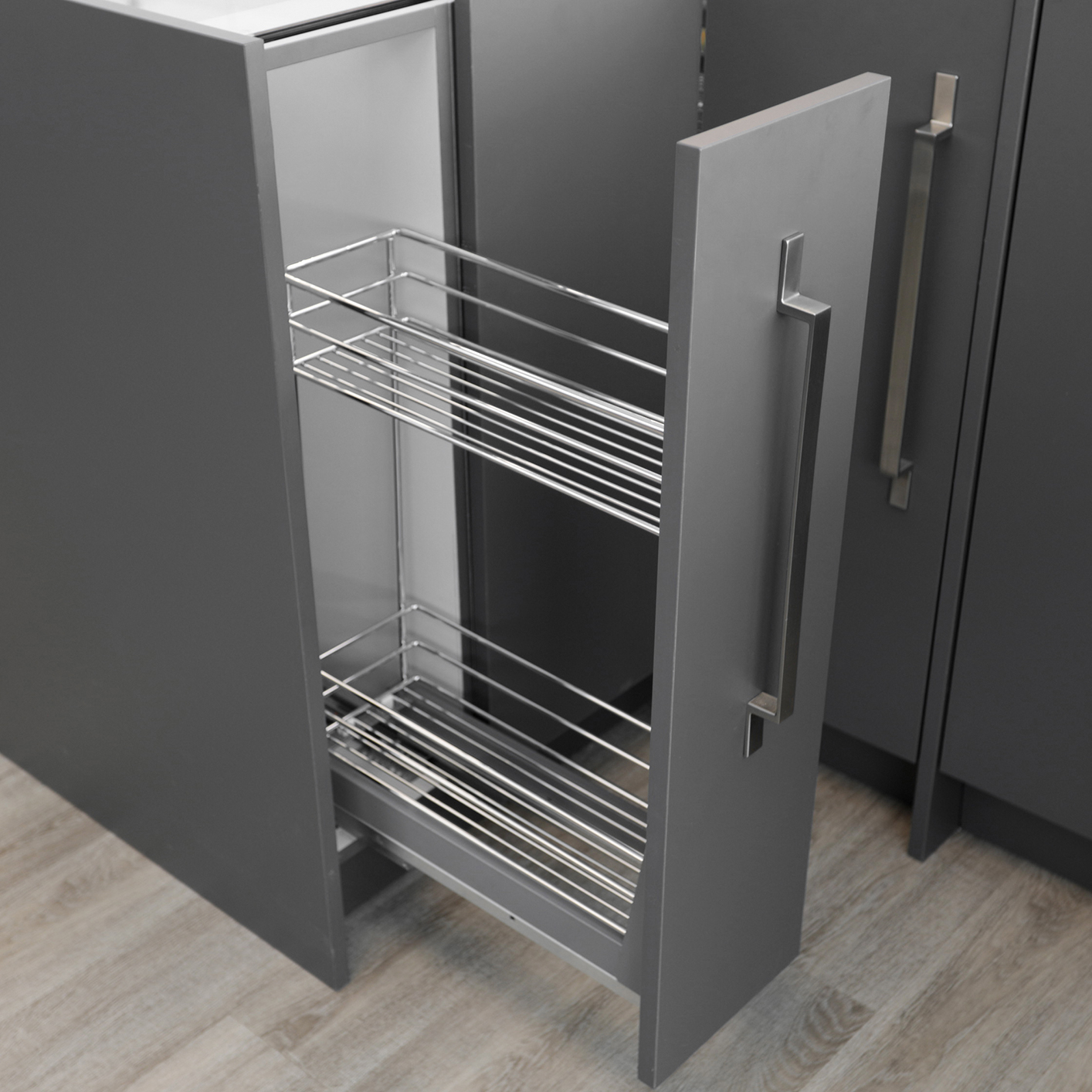 Kitchen Wardrobe Accessories: Bottom Pullout 150mm Soft-Close Wire -- 041-304084-I