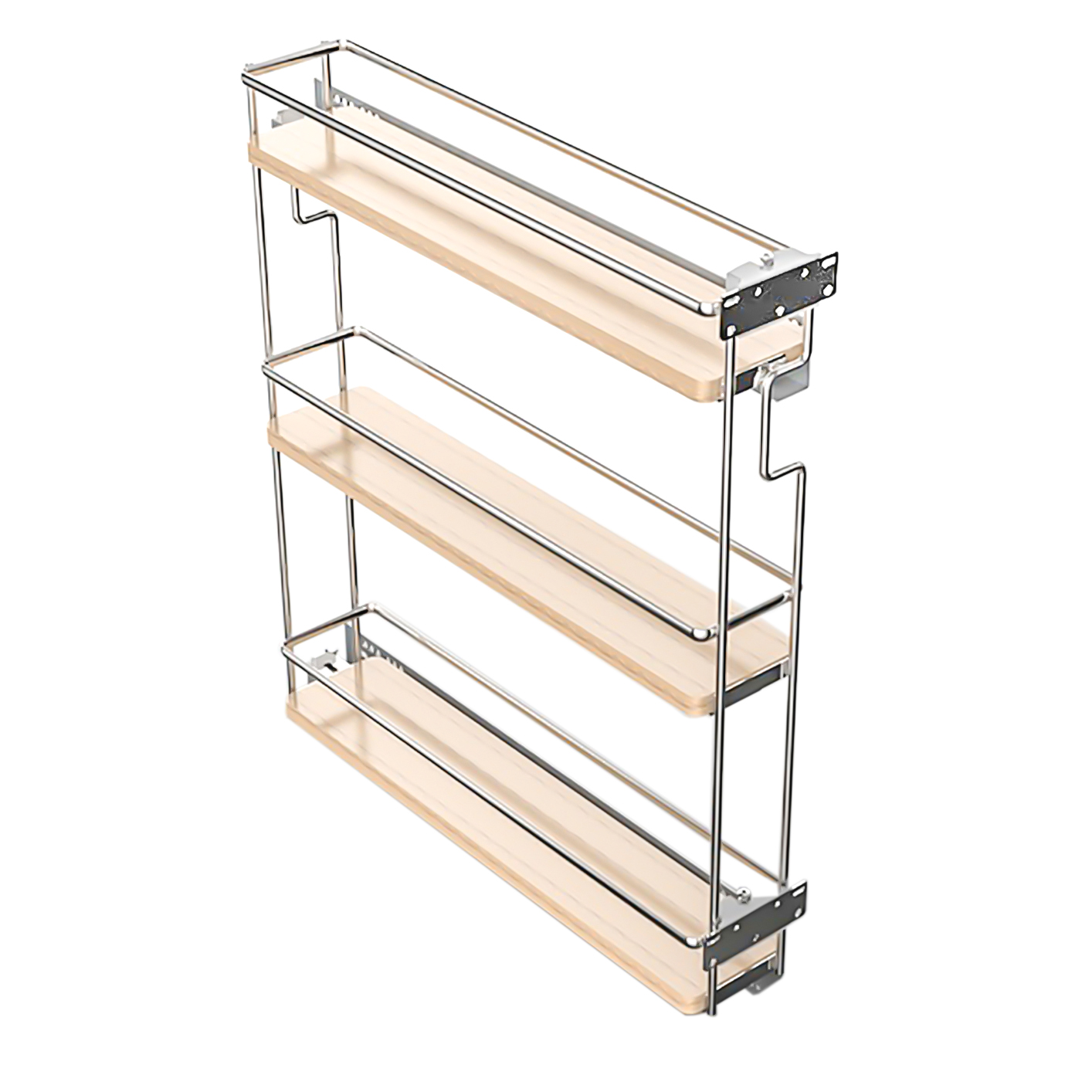 Spice Pull Out 3 Shelf 4 1 2 Open White Chrome Right