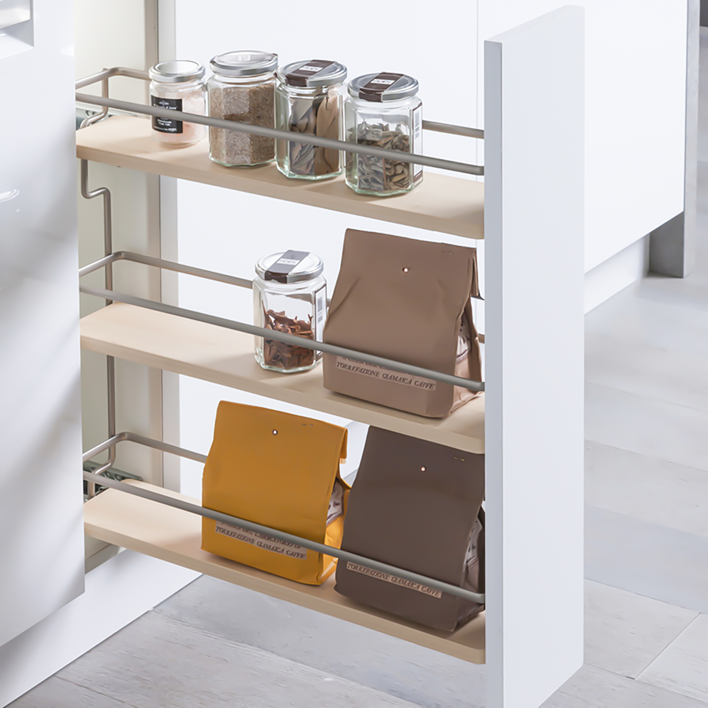 "Kitchen Wardrobe Accessories: Spice Pull-Out 3-Shelf 4-1/2"" Open Grey / Chrome, Right"