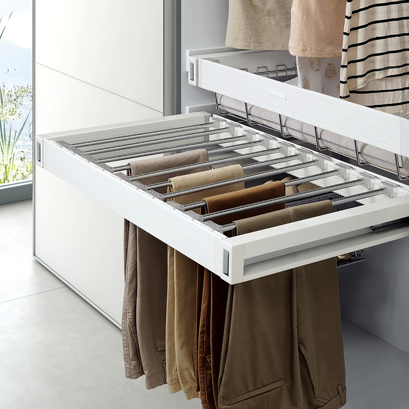 Symmetry Pant Rack Pull Out W Tray Soft Close 900mm Cabinet