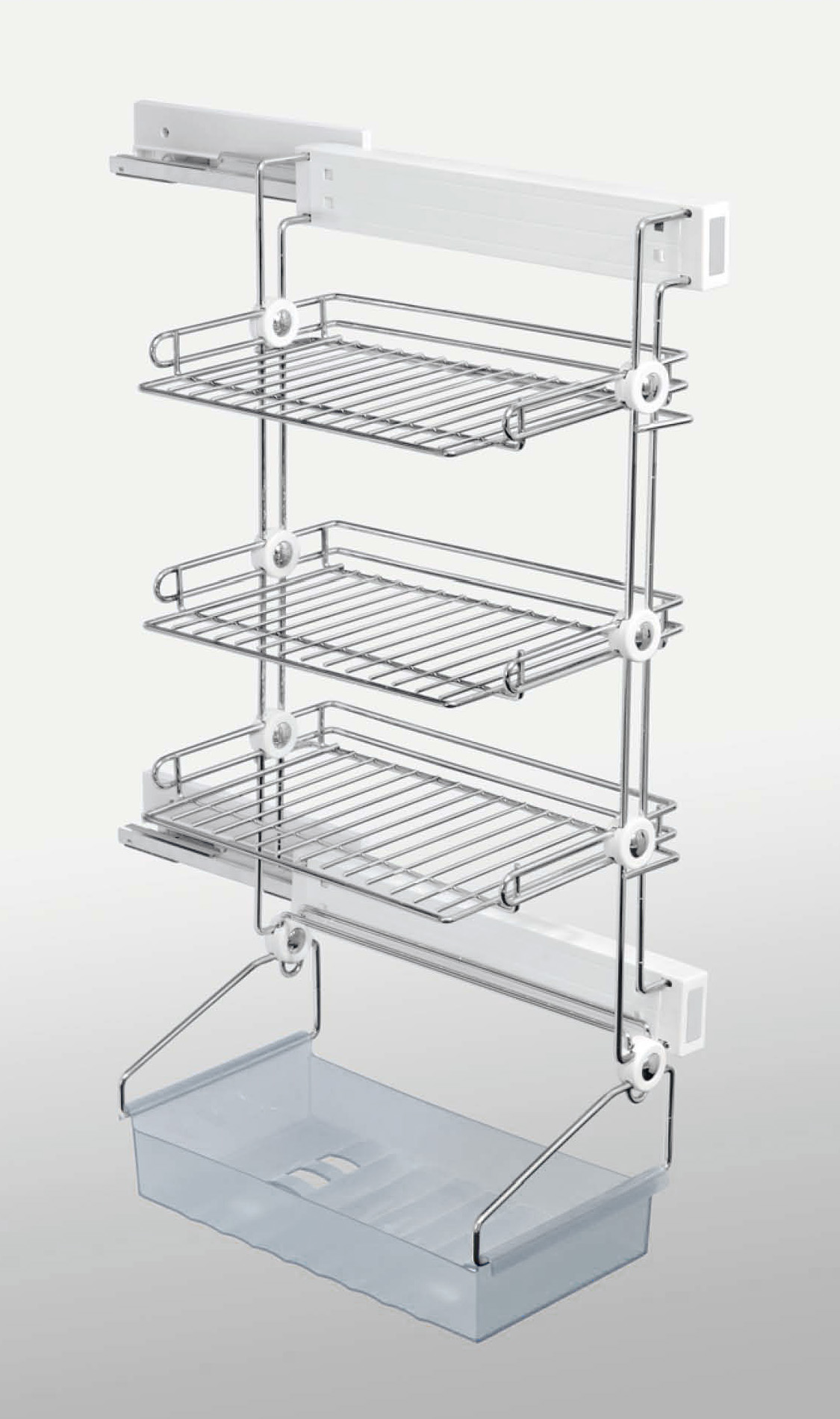 Symmetry Tall Shoe Rack W Tray Soft Close White Chrome